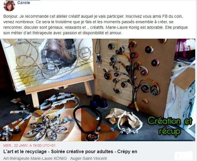 Avis et recommandations de Carole sur l'art-thérapeute Marie-Laure KONIG Oise Crépy-en-Valois