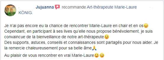 Avis de Jujuanna sur l'art-thérapeute Marie-Laure KONIG oise