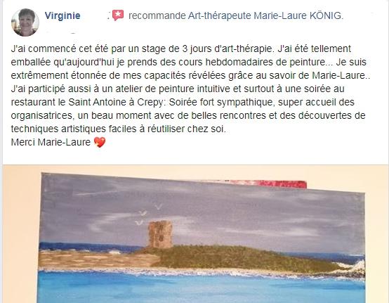 Recommandations et avis de Virginie sur l'art-thérapeute Marie-Laure KONIG Oise