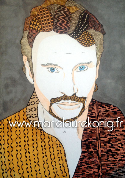Zentangle johnny hallyday portrait marie laure konig