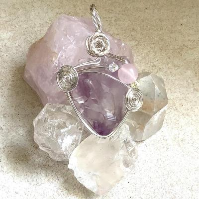 """Pendentif """"Coeur de cristal"""" - Amethyste"""