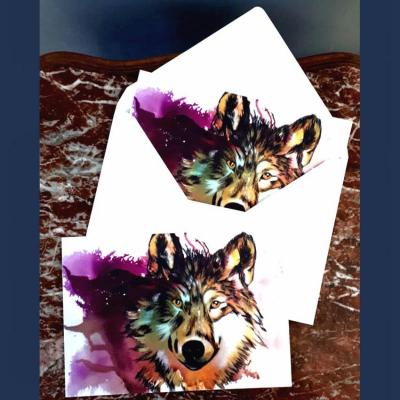 Loup carte et enveloppe marie laure konig artiste peintre