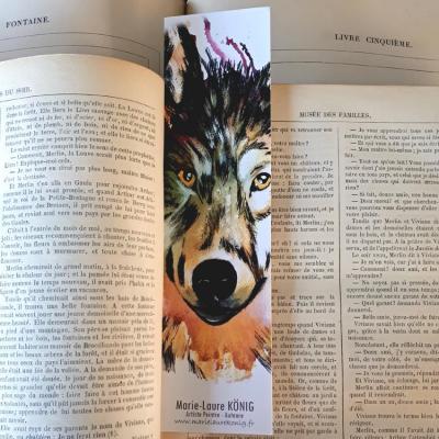 Marque page loup marie laure konig artistre peintre oise crepy en valois senlis le plessis belleville nanteuil le haudouin 1