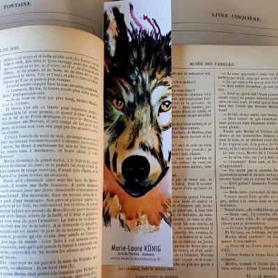 Marque page loup marie laure konig artistre peintre oise crepy en valois senlis le plessis belleville nanteuil le haudouin