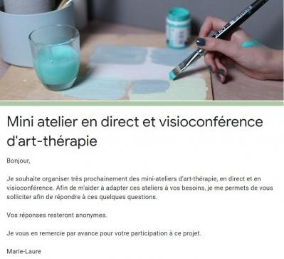 Mini ateliers art therapie en visioconference