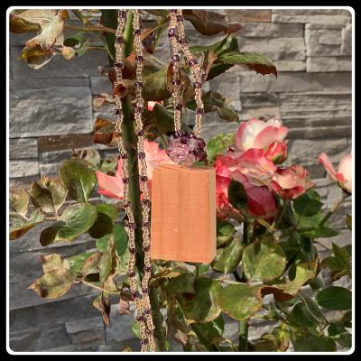 Pendentif bois de palette rose des vents 2