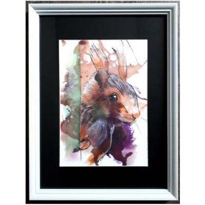 Poster oeuvres encre ariste peintre marie laure konig oise 60300 60800 60440 60330 60200 ecureuil