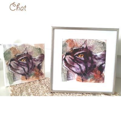 Poster regard de chat encre marie laure konig artiste peintre oise 60300 60440 60330 60800 60200 copie
