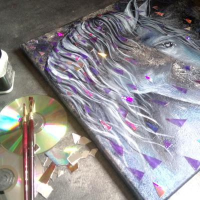 Tableau recyclage disque laser cheval le temps